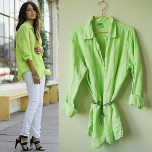 SUNNY SIDE UP Linen Lime Green Shirt XL 14-16